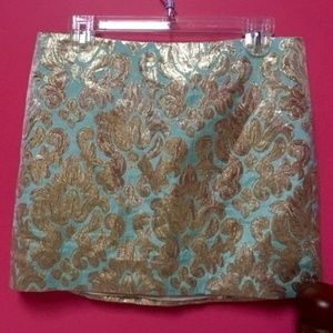 J. Crew Teal Gold Trendy Mini skirt Size 4